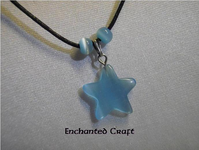 Sweet light BLUE STAR cat's eye necklace