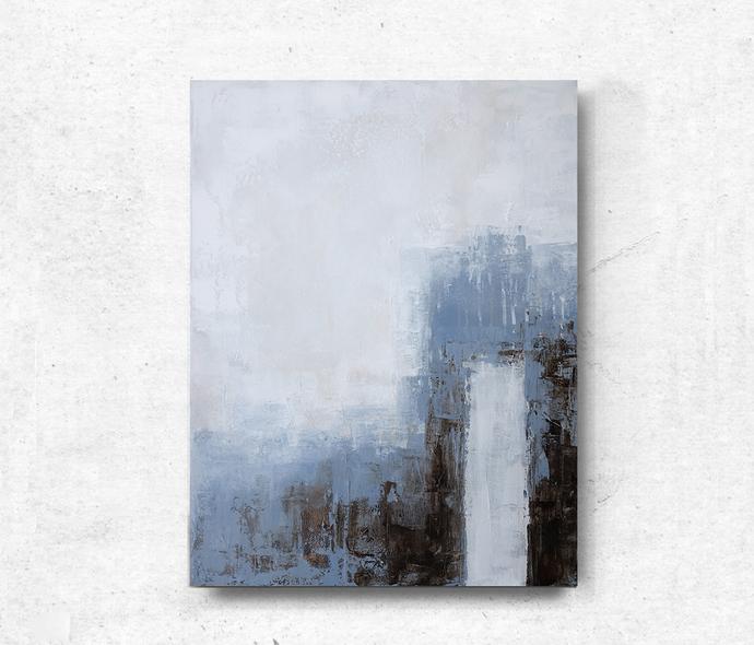modern abstract, Industrial Decor, Loft Art, acrylic on canvas, light blue and