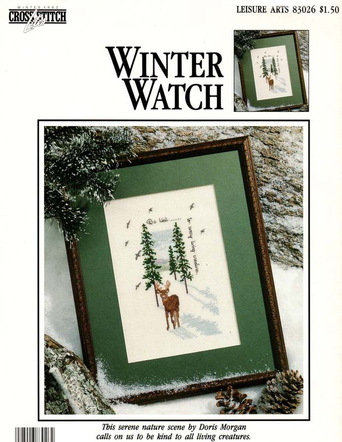 Winter Watch, Deer Cross Stitch Pattern Leaflet 83026 Leisure Arts. Doris Morgan