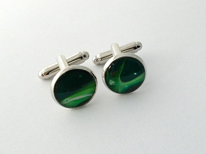 Original Art Cufflinks in Shades of Green
