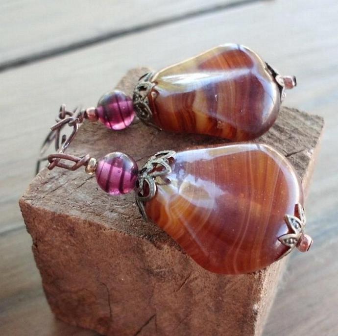 Large Golden Brown Art Bead Dangle Earrings