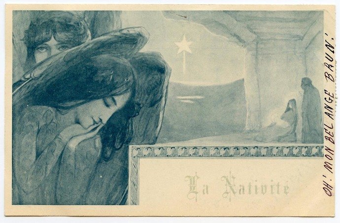 Nativity Angels Antique French Christmas Postcard Franked 1900