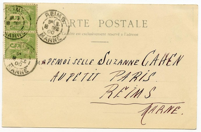 Noel at Bethlehem French Christmas Postcard Franked 1900