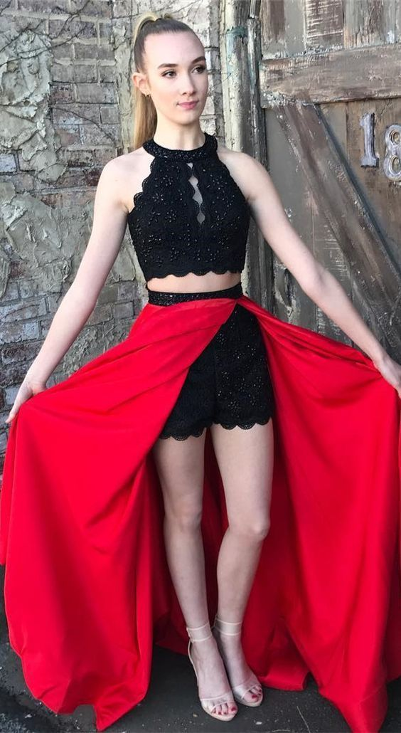 Sexy Halter Two Piece Prom Dress, Black Beaded Long Prom Dresses