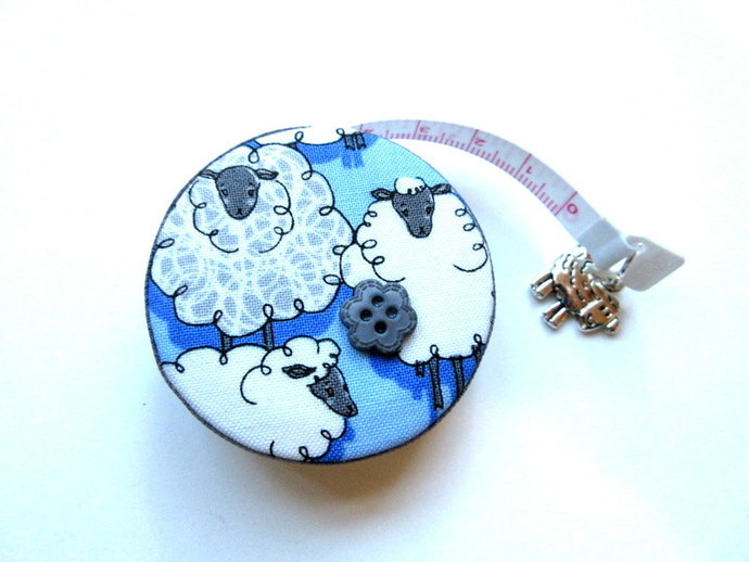 Measuring Tape Sheep on Blue Small Retractable Tape Measure