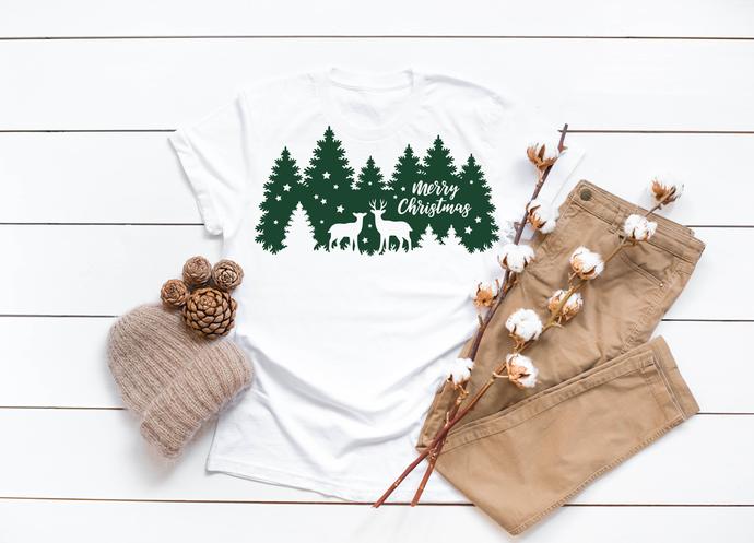 Merry Christmas Deer Silhouette  Tshirt