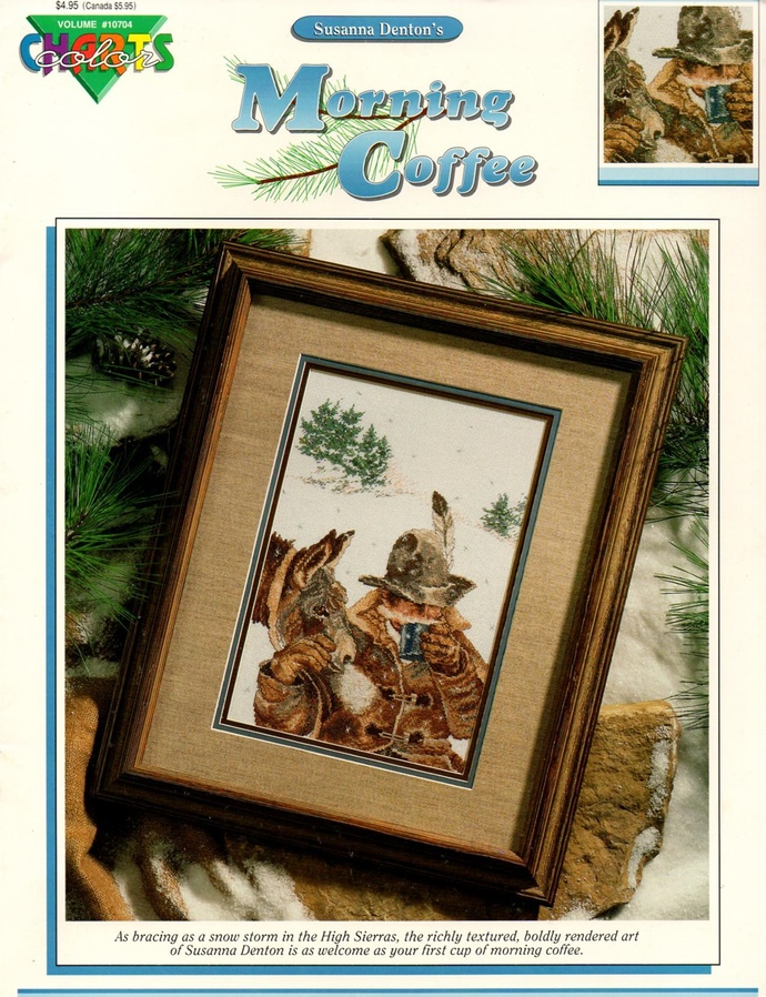 Morning Coffee Cross Stitch Pattern Cowboy, Horse, Snow Color Charts 10704