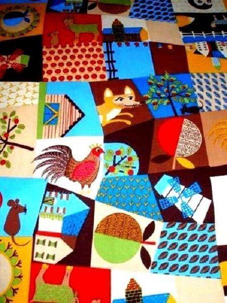 Yardage Cotton Quilt Fabric Modern Village Folkart  Owl Fox Chick Deer Multi