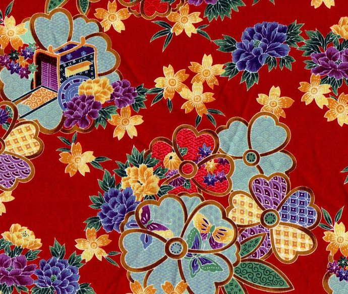 Yardage Cotton Quilt Fabric Kimono Floral Asian Red Kona Bay