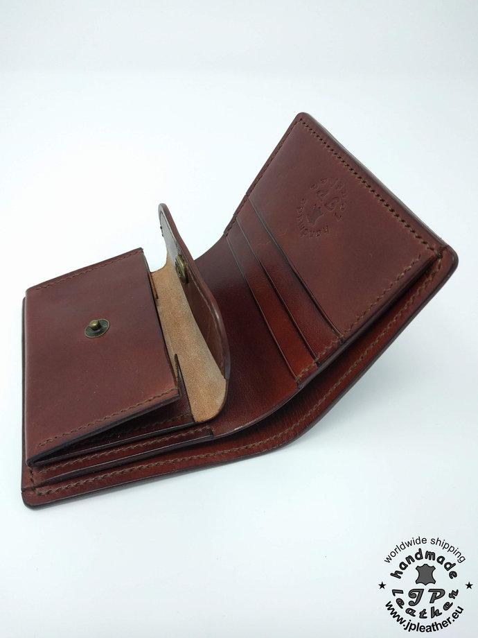 Handmade leather wallet - fullgrain veg-tan cowhide - brown, black or red