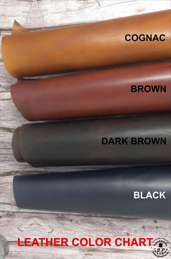 Handmade leather wallet - fullgrain veg-tan cowhide - brown or black
