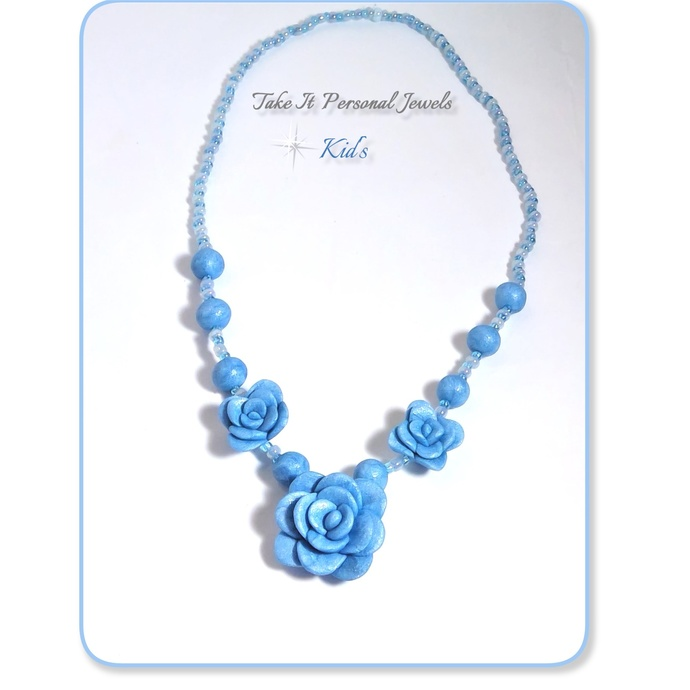 Girls Stretch Blue Flower Necklace handmade children's jewelry holiday gifts
