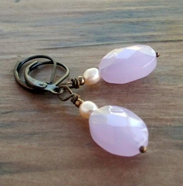 Pale Blue Grey Faceted Quartz Earrings with Freshwater Pearls