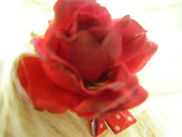 Red White Polka Dot Ribbon Barrette Alexia