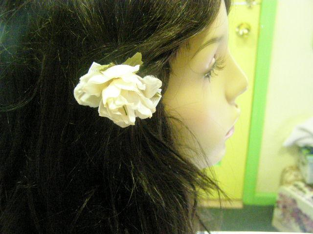 Cream Ivory Off White Ribbon Rose Barrette Cabalina