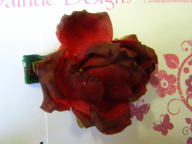 Green Christmas Ribbon Rose Barrette Ali
