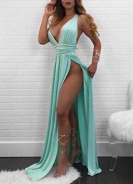 Sexy Deep V Neck Graduation Dress Split Side Prom Dresses Chiffon Formal Gowns