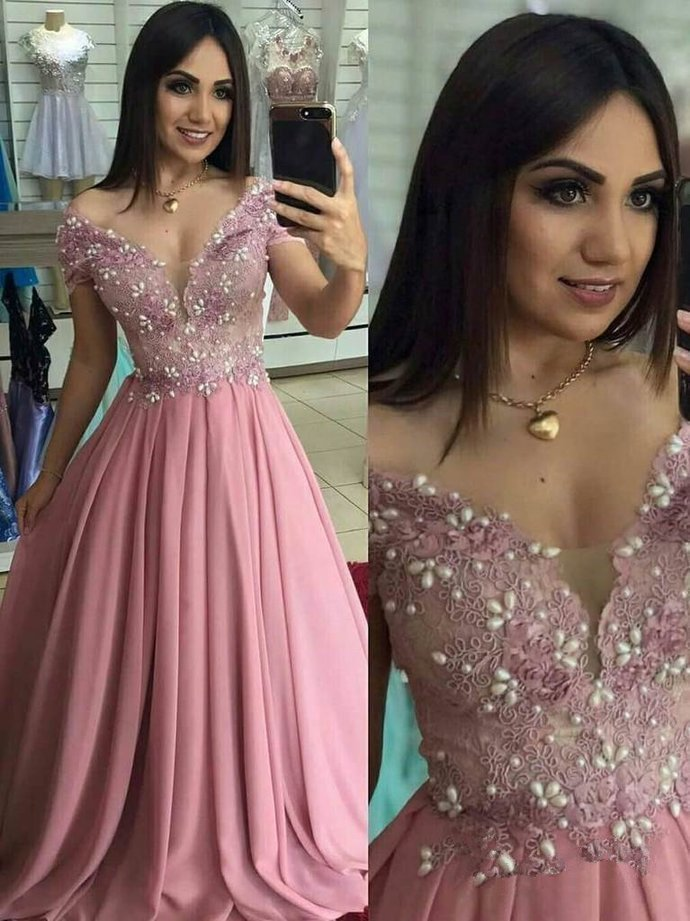 High Quality Lace Prom Dress Chiffon Evening dresses Off-the-shoulder Formal