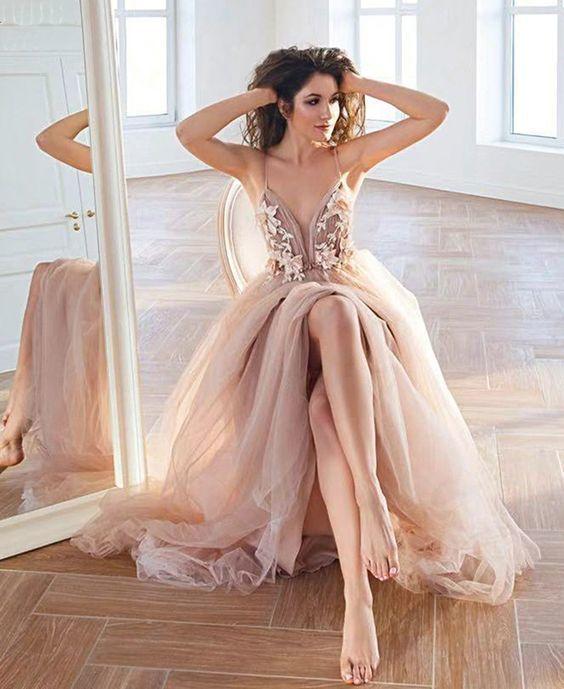 Stylish V Neck Evening Dress Tulle Lace Long Prom Dress Formal Dress event dress