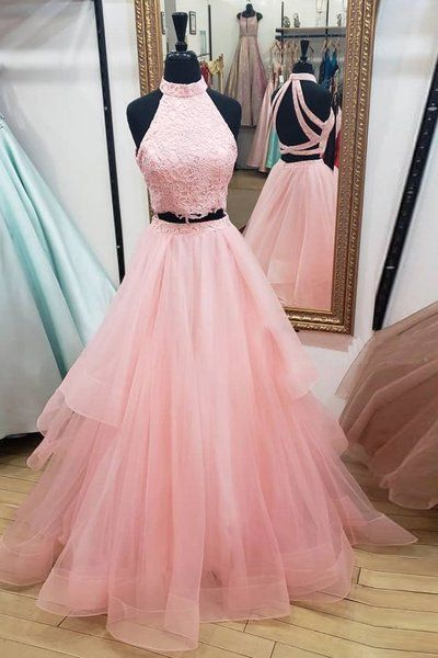 Pink Tulle Two Pieces Strapless O Neck Two Pieces Long Prom Dress, Homecoming