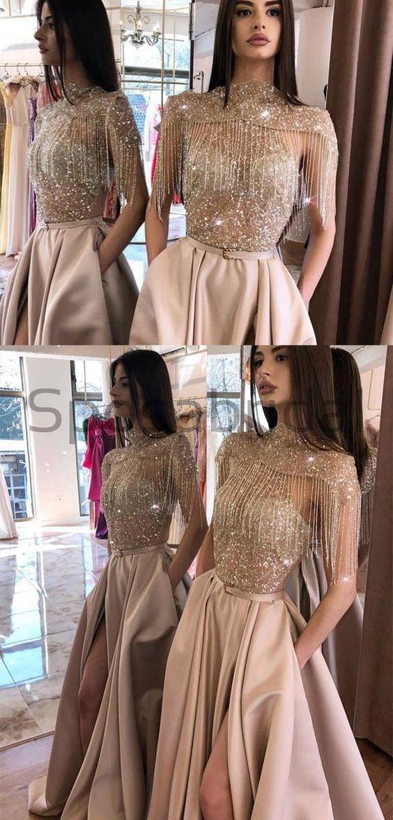 Sparkly Gorgeous Long A-line Satin Modest UniqueLong Prom Dresses PD1661 Sparkly