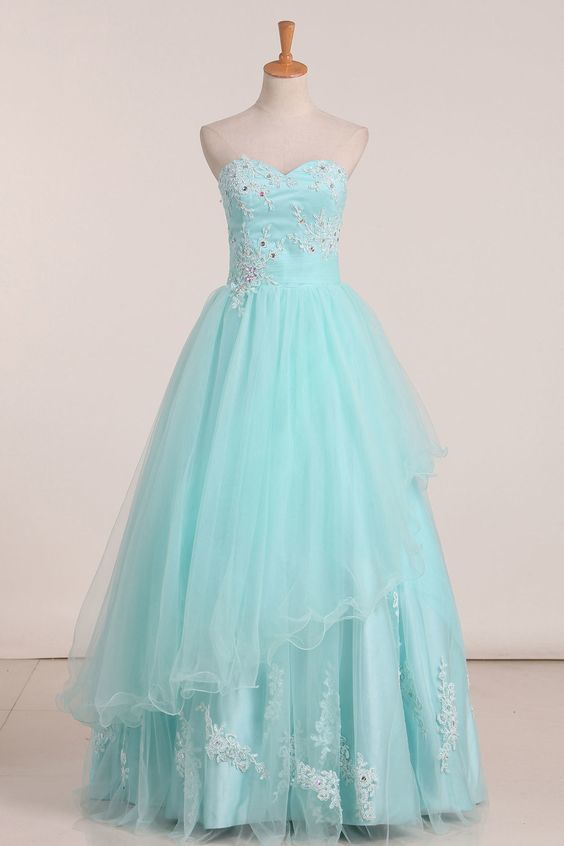 Prom Dresses Sweetheart Tulle With Applique