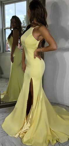 Sexy Halter Light Yellow Backless Side Slit Mermaid Long Evening Prom Dresses