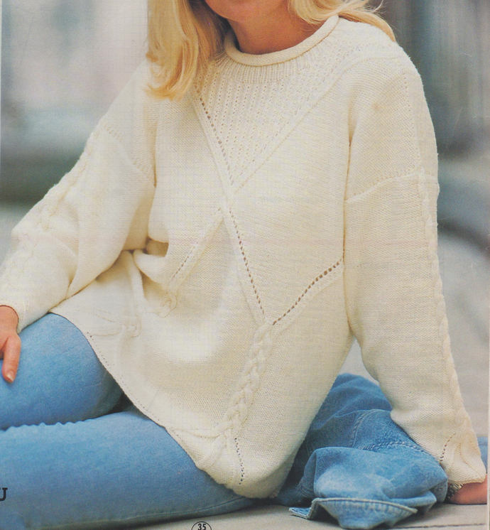 Instant PDF Digital Download Vintage Chart Knitting Pattern Ladies Long Loose