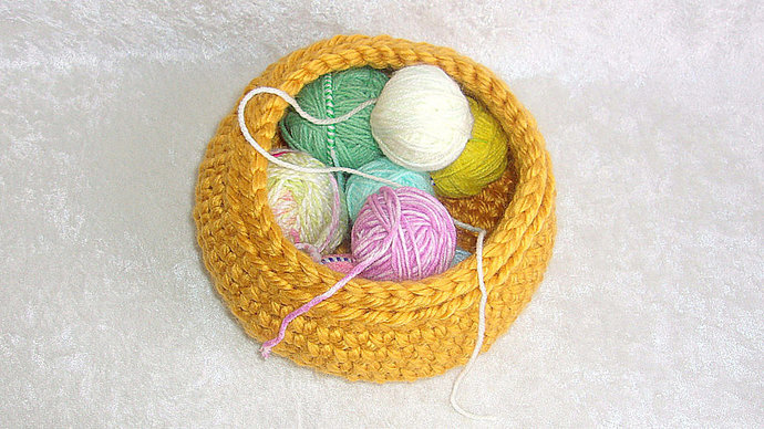 Storage Basket or Catch-all, crocheted in Golden Yellow thick and soft yarn, for