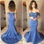 Blue Prom Dress,Satin Prom Gown,Appliques Evening Dress,Off the Shoulder Prom