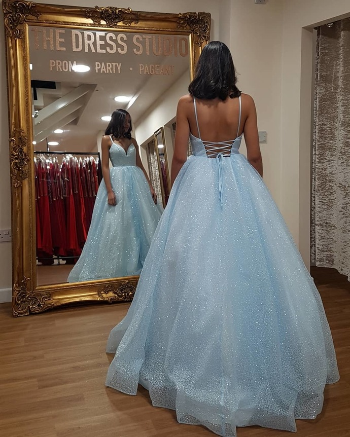 Blue Prom Dress,Tulle Prom Gown,Backless Evening Dress,Spaghetti Straps Prom