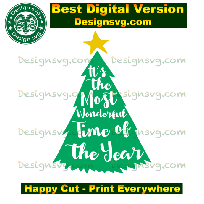 It's the most wonderful time of the year, christmas day, christmas tree svg,