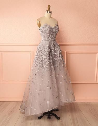 Sweetheart Long 3D Flower Evening Dress, Strapless High Low Prom Dresses