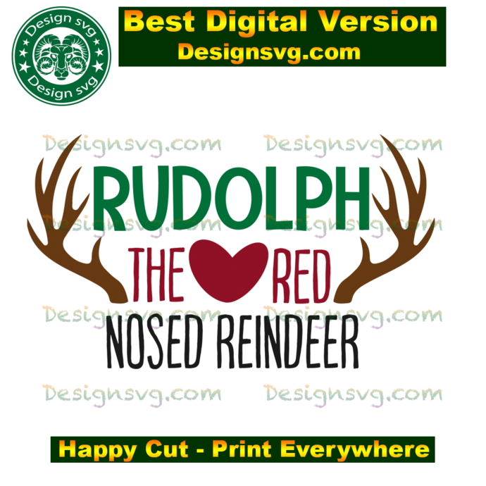 Rudolph the red nosed reindeer,christmas svg, christmas day, reindeer svg,