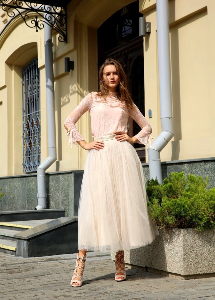Women Midi Tulle Skirt, Beige or Different Color, Bridesmaid Wedding Party Tutu