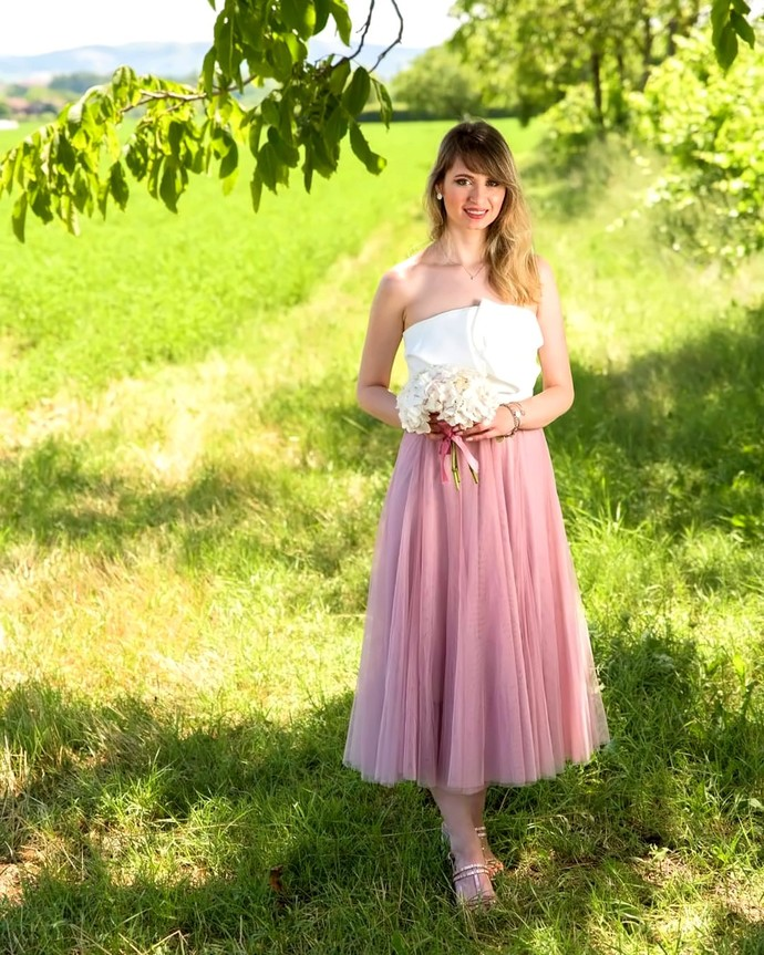 Women Midi Tulle Skirt, Light Pink or Different Color, Bridesmaid Wedding Party