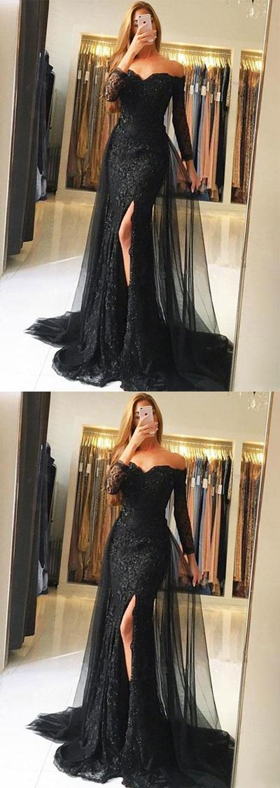 Stylish Mermaid Off-Shoulder Long Sleeves Black Long Prom/Evening Dress with