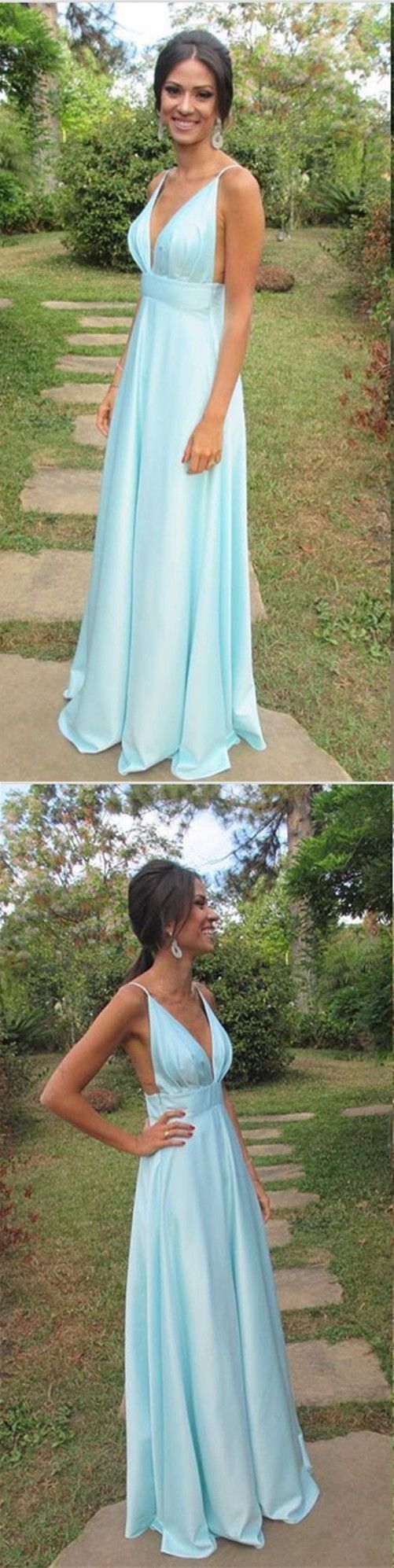 Sexy V neck Summer Evening Dress, A-line Long Prom Gown with Spaghetti Straps
