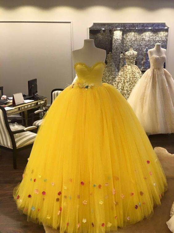 Princess Sweetheart Yellow Long Prom Dress With Tulle