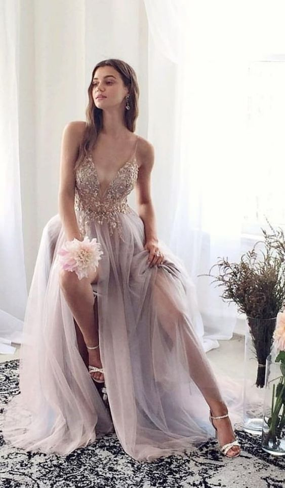 luxury beading long prom dresses, sexy spaghetti straps prom gowns