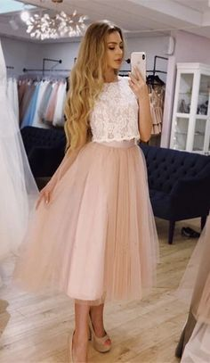 Chic Lace Crop Tea Length Prom Dresses Two Piece