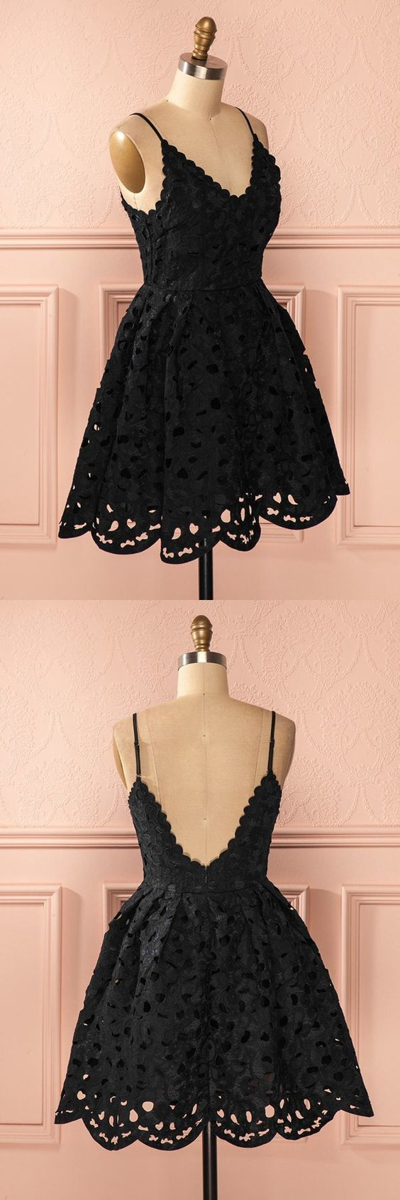 A-Line Spaghetti Straps Backless Short Black Lace Homecoming Dress