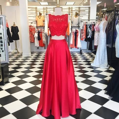 Gorgeous Two Piece Red Long Prom Dress