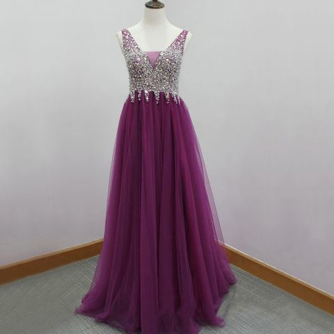 Charming Prom Dress, Elegant Tulle Prom Dress , Beaded Prom Dresses , Long