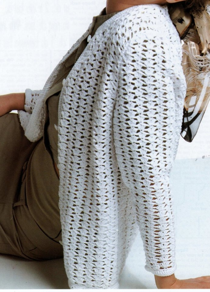 Instant PDF Digital Download Vintage Crochet Pattern Ladies Loose Fitting Long