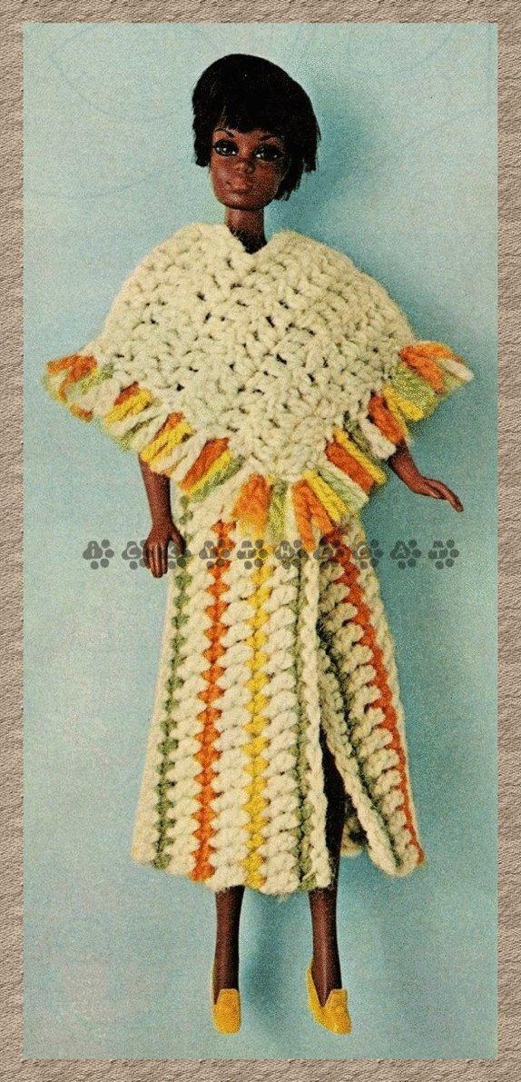 Instant PDF Digital Download Vintage Crochet Pattern Dolls Clothes Fringed