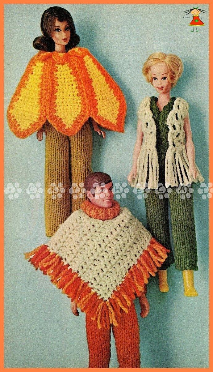 Instant PDF Digital Download Vintage Crochet Pattern Ken/Barbie