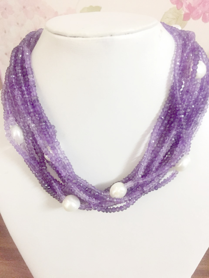 14 Strand Faceted Amethyst Freshwater Pearl Beaded Jewelry necklace,Amethyst