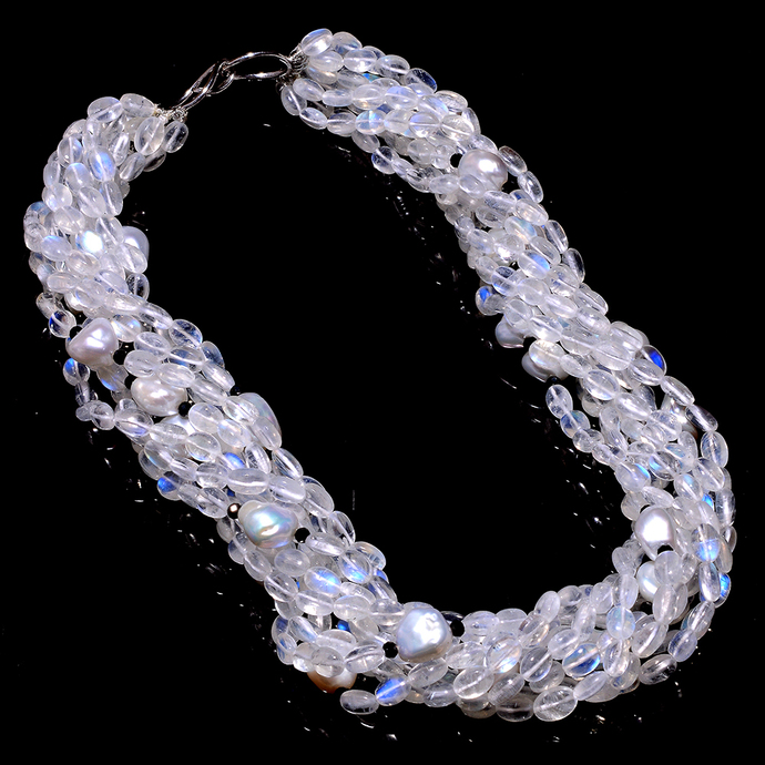 9 Strands Rainbow Moonstone Baroque Pearl cocktail Necklace,Bridal Bead Necklace