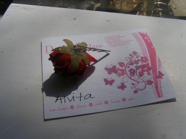 Red Rose Gold Tip Bobby Pin Alvita